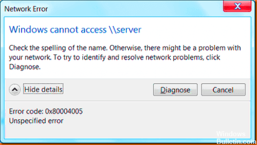Error code: 0x80004005 solved
