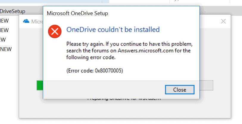 error code 0x80070005 solved