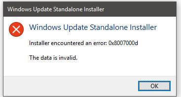 error code 0x8007000d solved