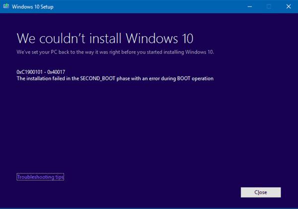 error code 0xc1900101