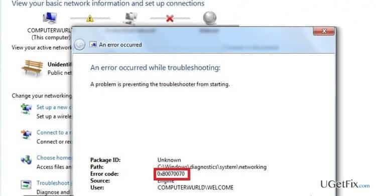 Error Code: 0x80070070