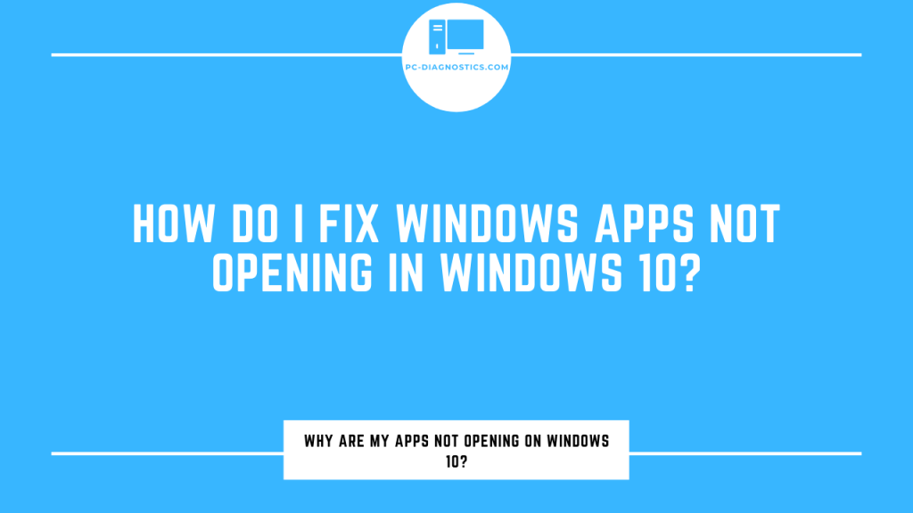 apps won't open in windows 10